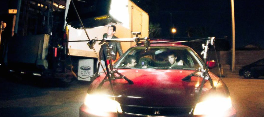 A car rigged with lighting equipment