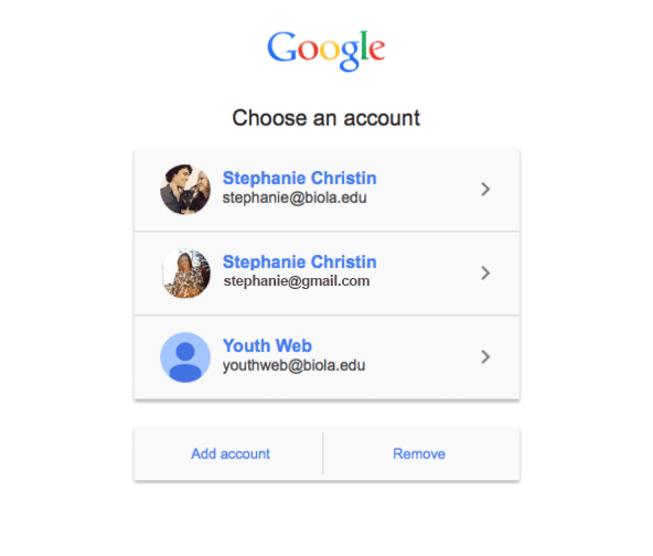 Choose an account screen