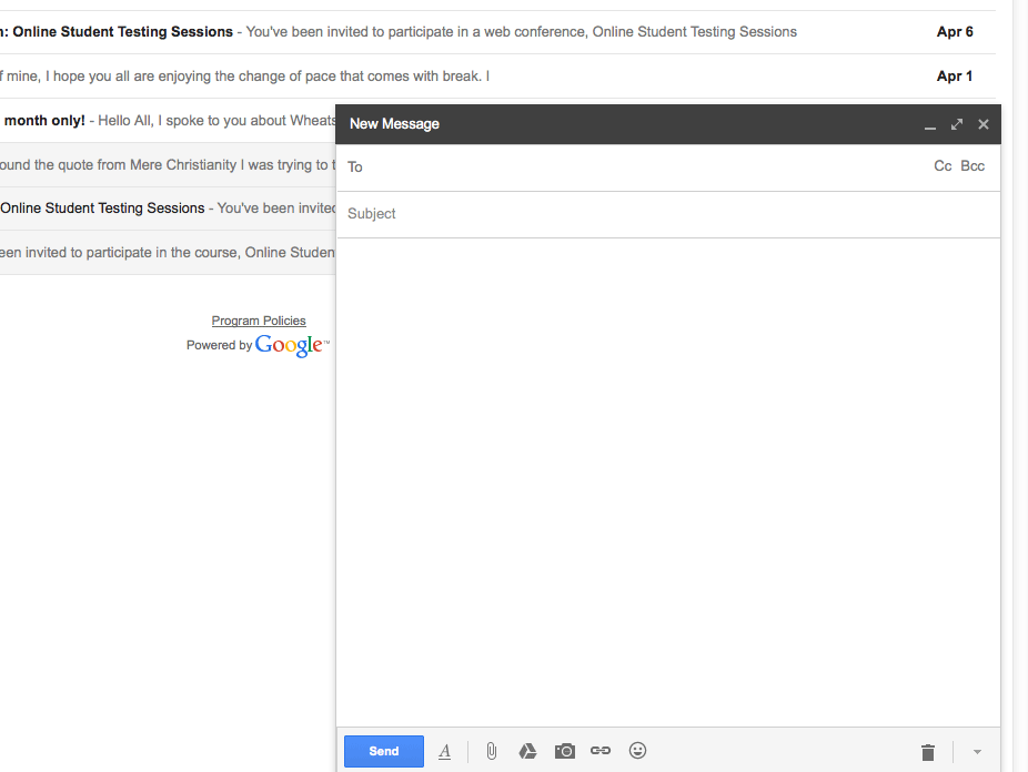 Gmail new message pane
