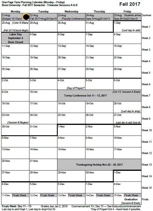 Term Planning Calendar Archive   Term Planning Calendars   Biola