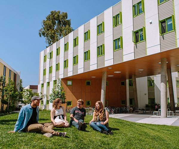 Four students talk on the lawn in front of Blackstone Hall.