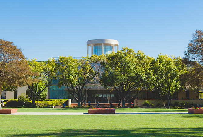 Afternoon shot of the library from Metzger Lawn