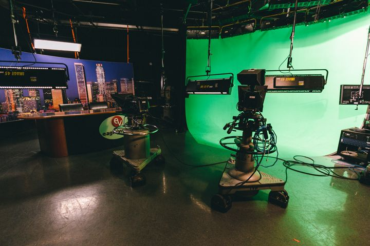 Newsroom in the Production Center with green screen and backdrop