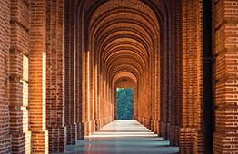 Hall of arches in Cambridge