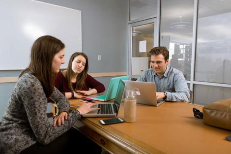 Students in a group study room