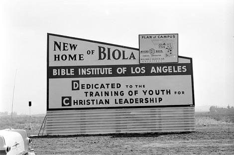 Biola's original sign
