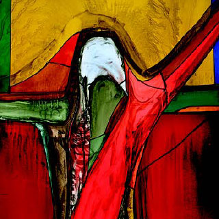 Stained glass window featuring the crucified Christ