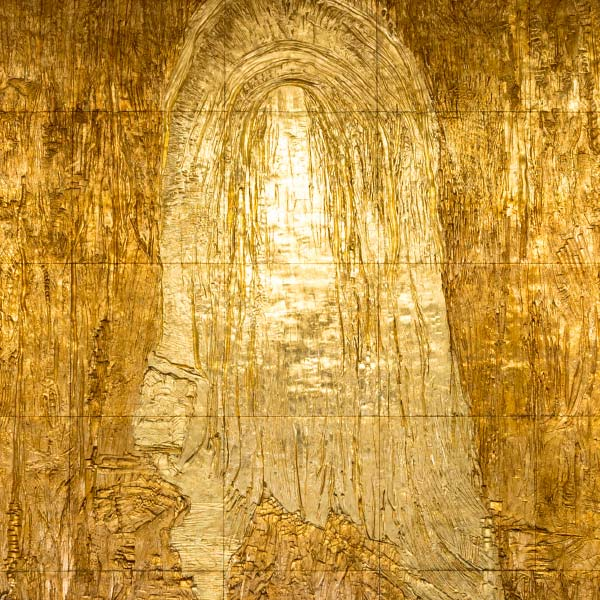 Golden relief wall depicting Christ emerging from the tomb