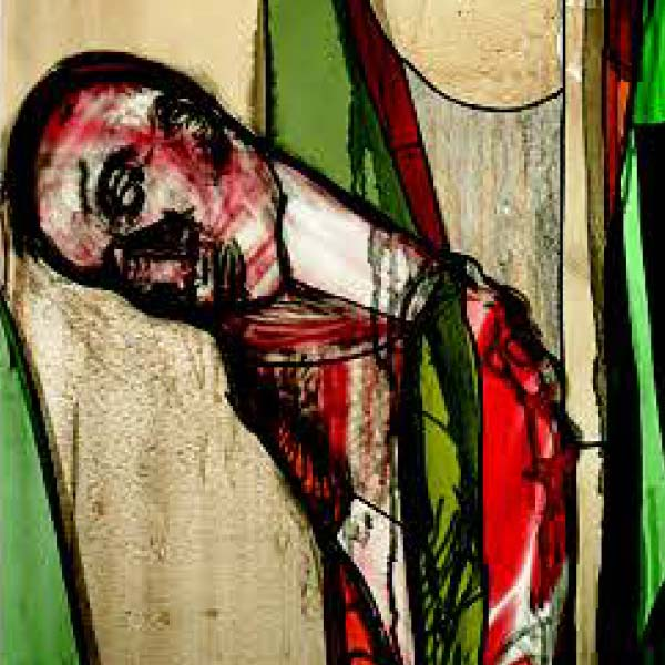 Stained glass depicting Cain after killing Abel