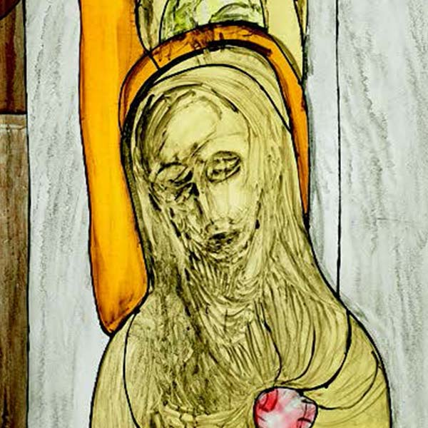 Stained glass depicting Jesus disappearing