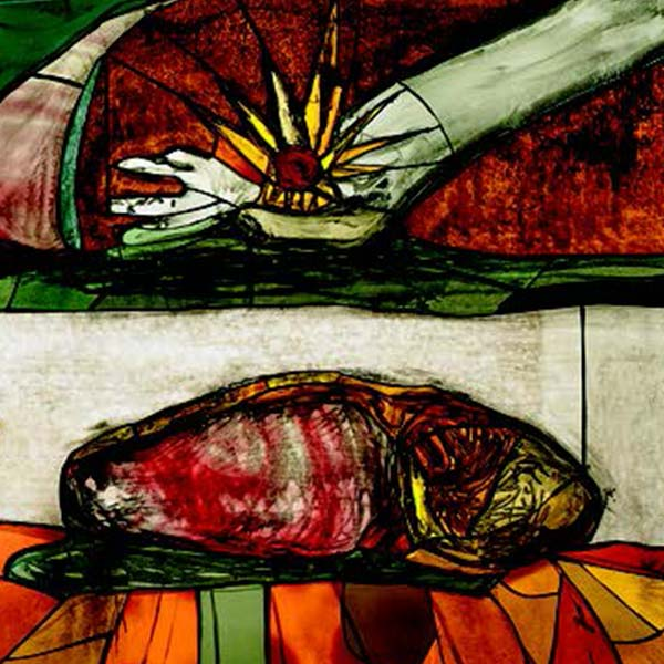 Stained glass depicting a loaf of bread and the hand of Christ