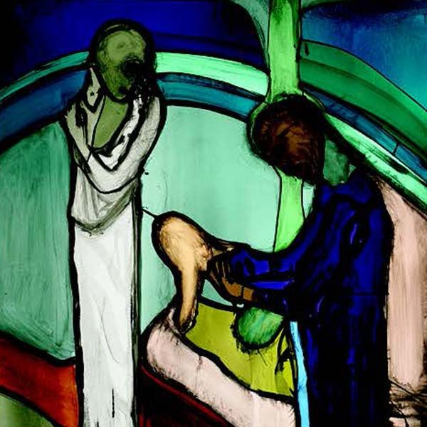 Stained glass depicting Nicodemus speaking with Jesus