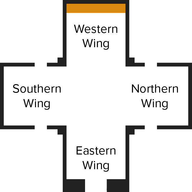 Cross shaped Calvary Chapel layout with Western Wing on top, Northern Wing to the right, Eastern Wing at the bottom, and Southern Wing on the left