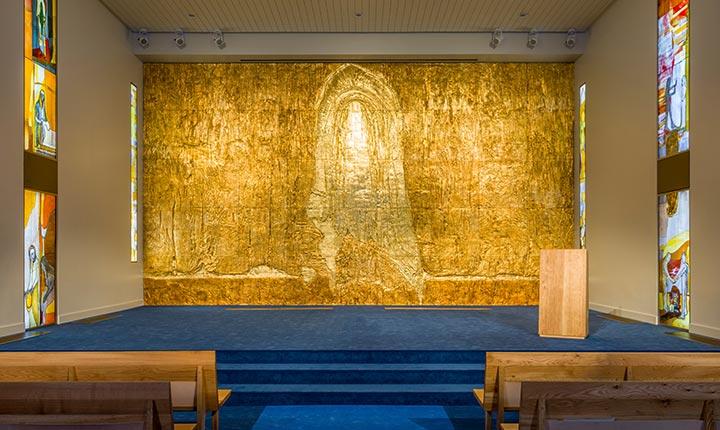 Inside of Calvary Chapel as seen from the doorway