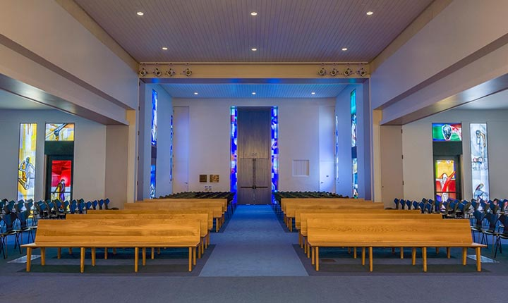 Two tall blue doors at the entrance of Calvary Chapel