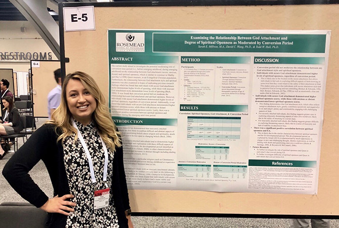 Rosemead School of Psychology student Sarah Millwee pictured with her award-winning poster