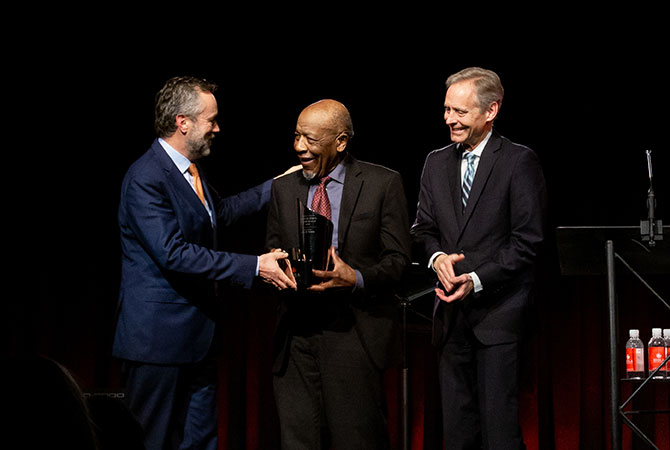 John M Perkins receives the Coulson award from President Barry Corey