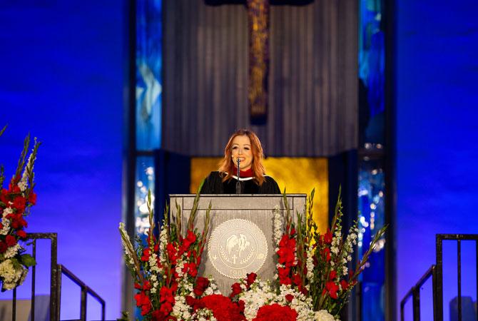 Lynsi Snyder-Ellingson speaking at commencement ceremony