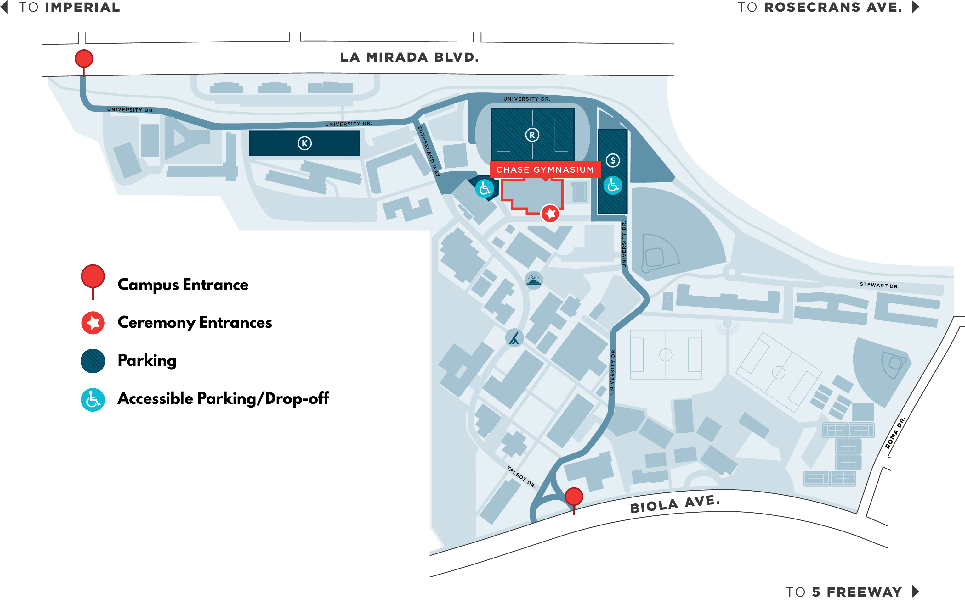 Fall Commencement Map showing campus entrances, ceremony entrances, parking locations and accessible parking and drop off locations