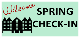 Welcome Spring Check-In Text with graphic of dorm buildings