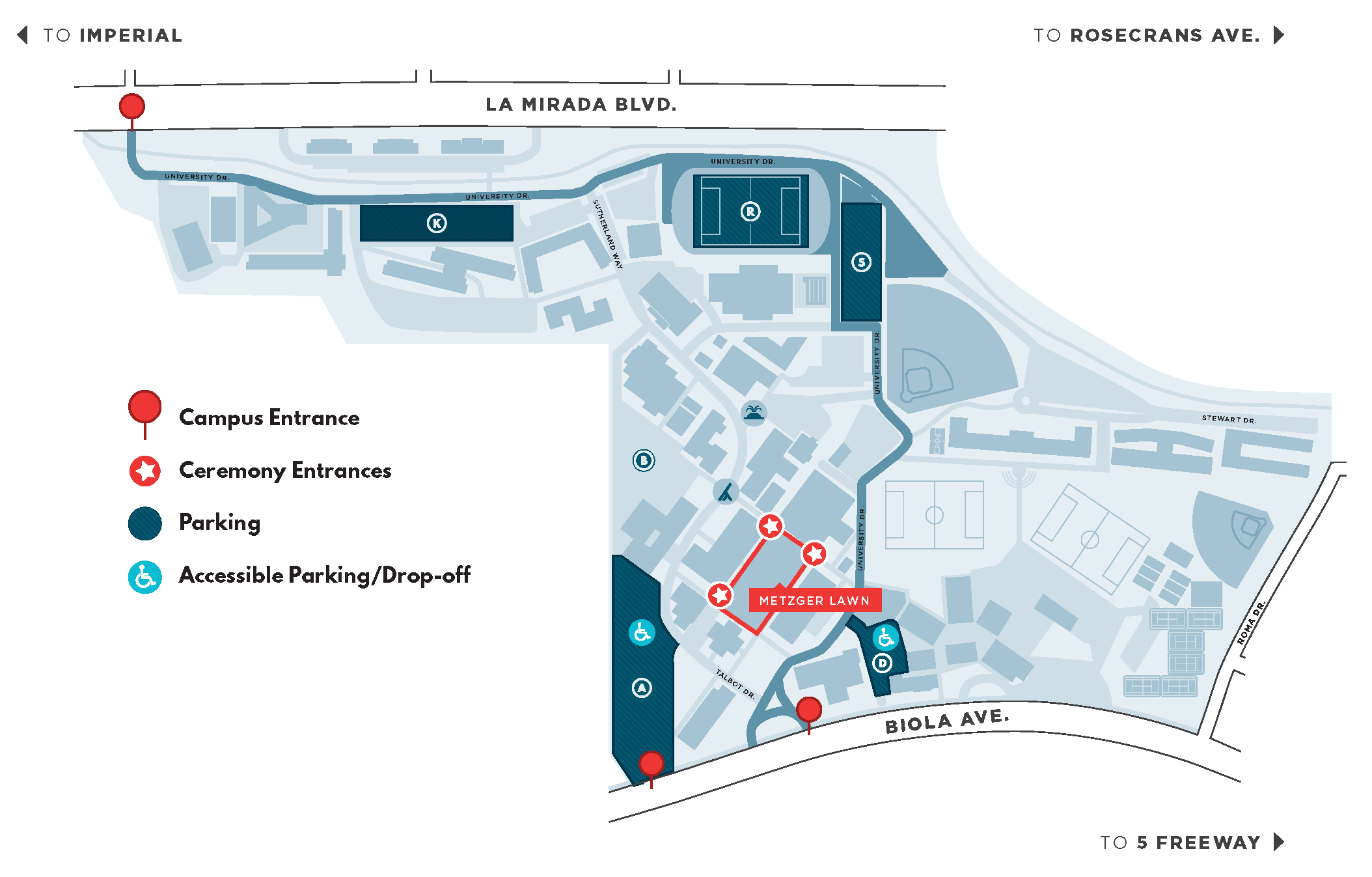 Spring Commencement Map showing campus entrances, ceremony entrances, parking locations and accessible parking and drop off locations