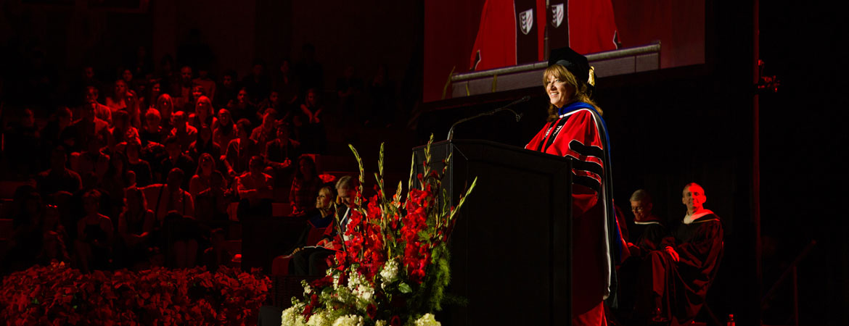 Dr. Deborah Taylor speaking at Commencement