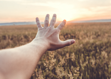 Hand reaching out towards sunset