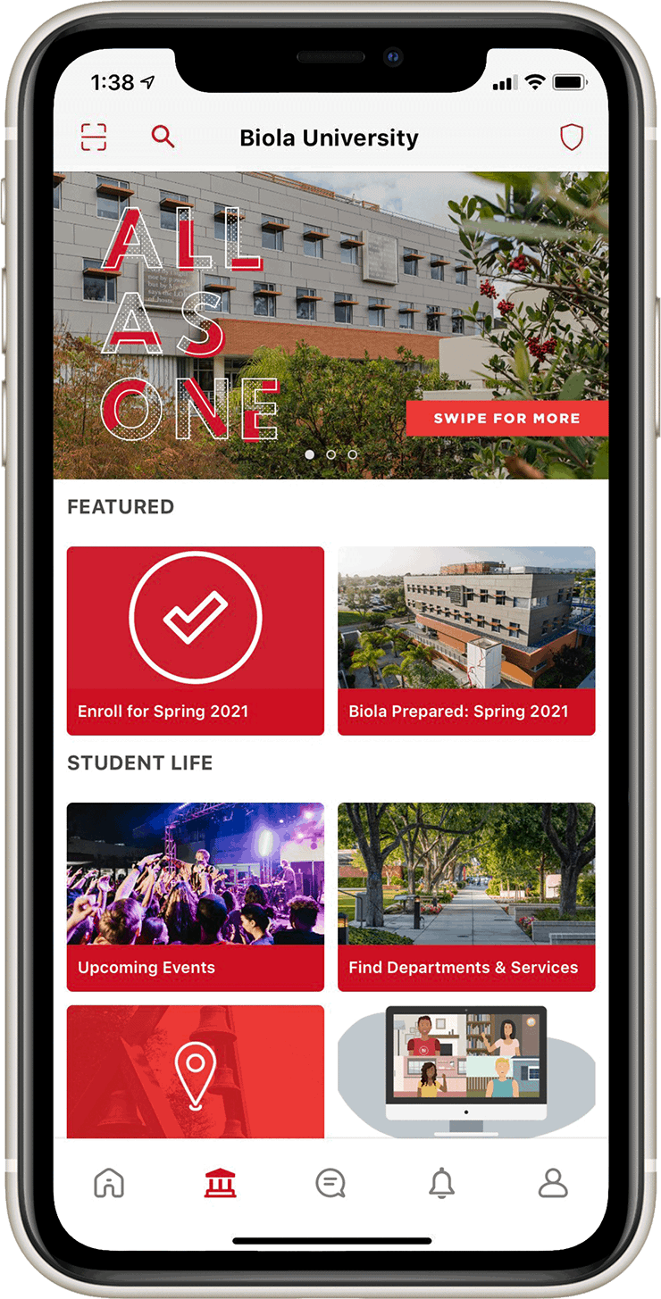Preview of the Biola University app on a phone.