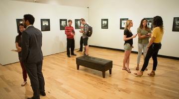 An art exhibit inside the Earl and Virginia Green Art Gallery at Biola University.
