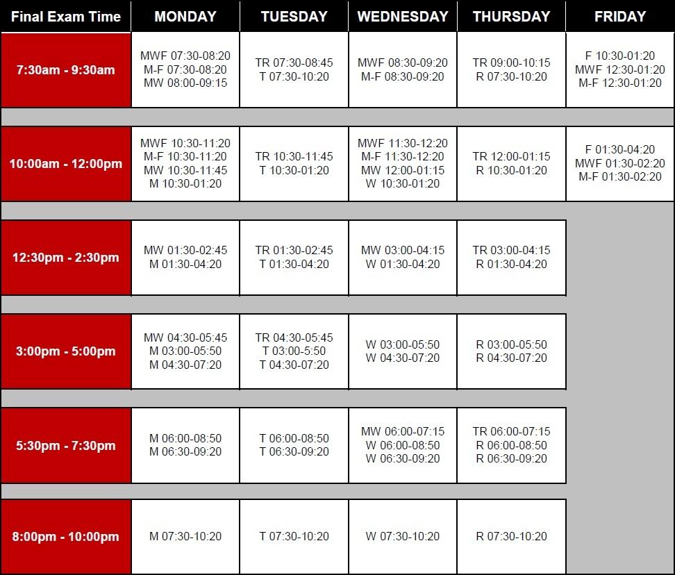Final Exam Week Schedule - Student Hub, Biola University