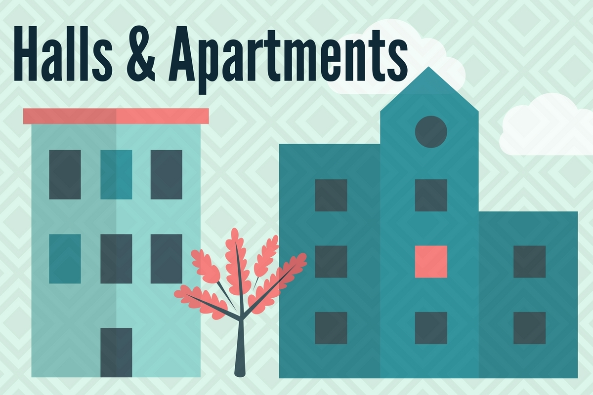 Halls and Apartments with background graphic of two buildings