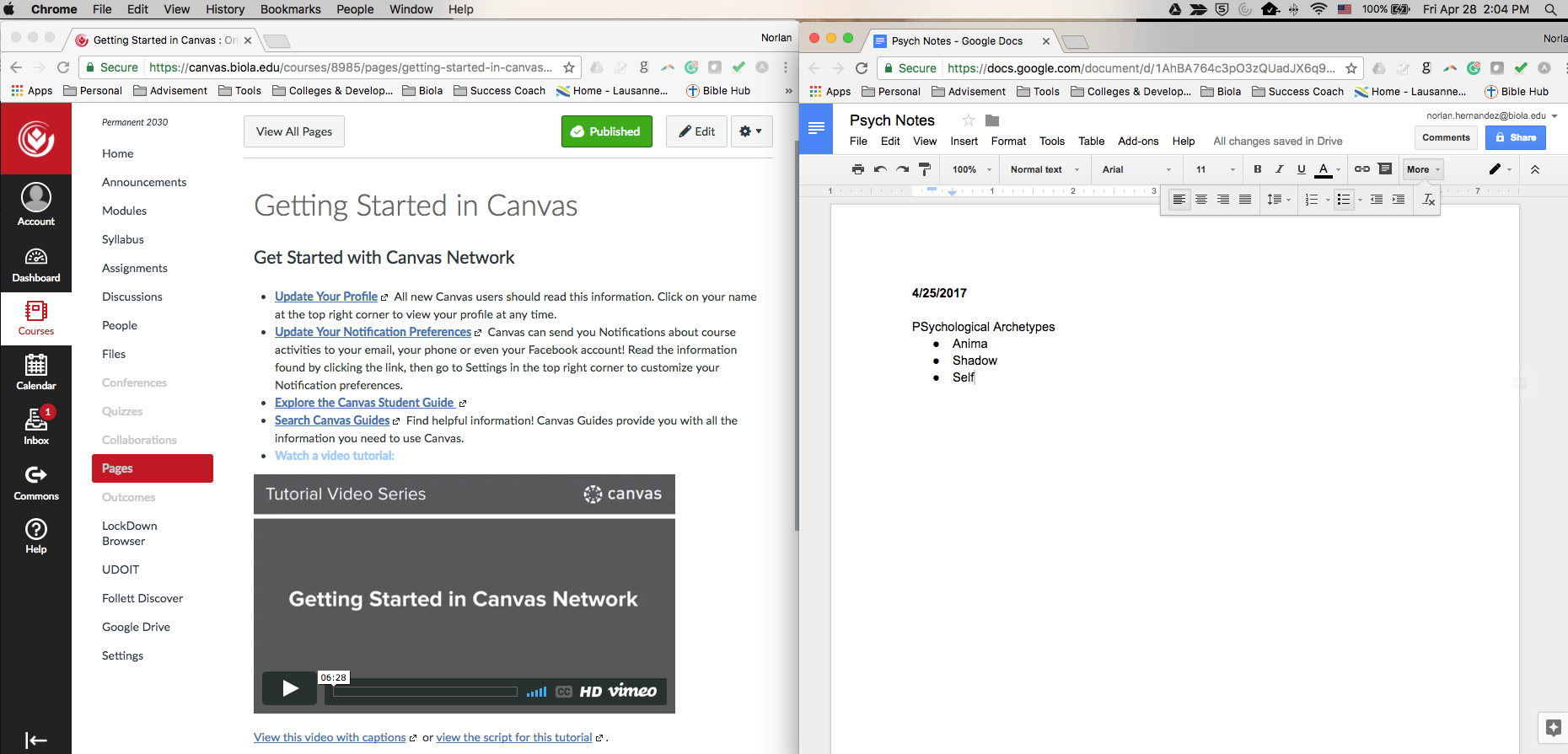 Split Screen with Canvas on the Left and Notes on the Right