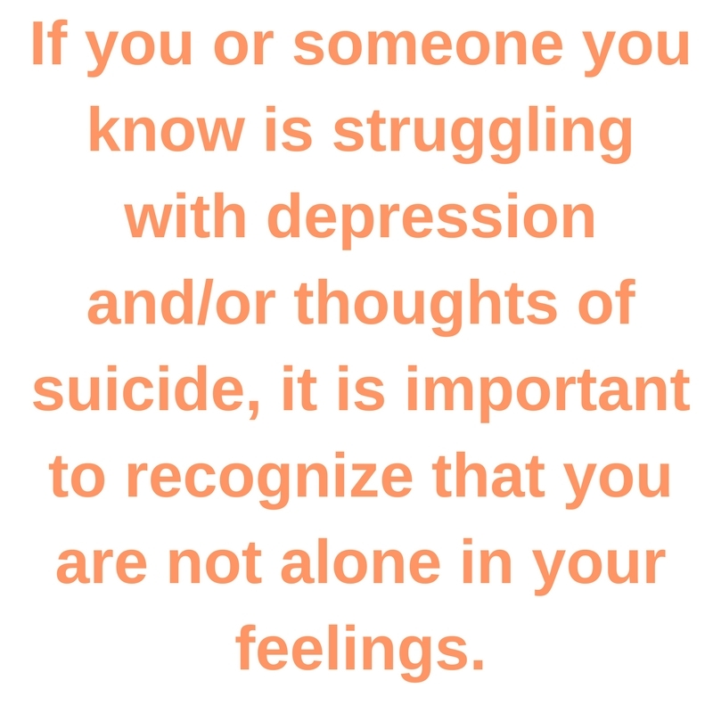 If you or someone you know is struggling with depression and/or thoughts of suicide, it is important to recognize that you are not alone in your feelings.