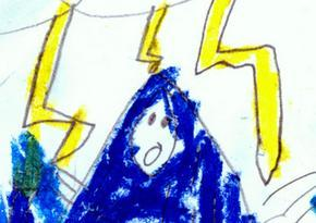 Elijah's drawing of lightning near Mary's head