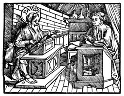 The Apostle Paul (dictating the book of Romans to his scribe, Tertius), in the Zurich Bible, 1536