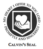 "Calvin's seal that reads ""My heart I offer to you Lord, Promptly and sincerely"""
