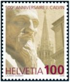 "Statue of John Calvin. Words read ""500th anniversaire J. Calvin, Helvetia 100"""