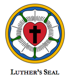 LUTHER'S SEAL; contains a black cross within a red heart within a white rose