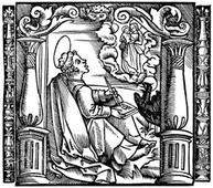 Drawing of John writing his Gospel