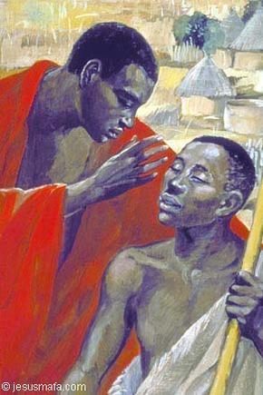 Painting of Jesus, as a black man, opening the eyes of the blind man