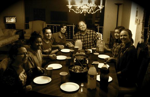 Students having dinner together