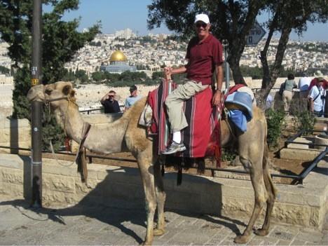 Dr.Joseph Hellerman on a dromedary in Jerusalem