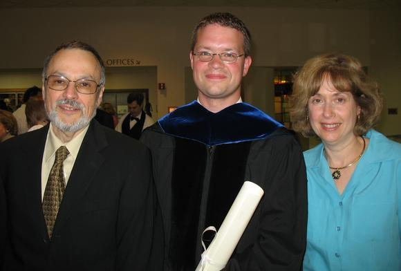 Dr. Kenneth Way at his graduation with first reader, Dr. Nili Fox, and second reader, Dr. Samuel Greengus