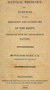 """Cover Page of Paley's """"Natural Theology; or, Evidence of the Existence and Attributes of the Deity. Collected from the Appearances of Nature"""""""