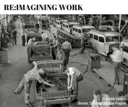 Black and white photo of workers assembling cars