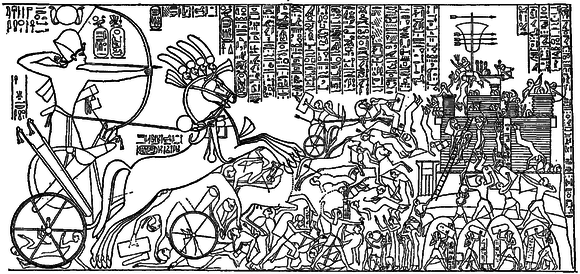 Line drawing of relief of Ramses II that shows his siege of an enemy city