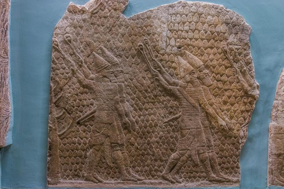 Relief of Assyrian slingers attacking city of Lachish