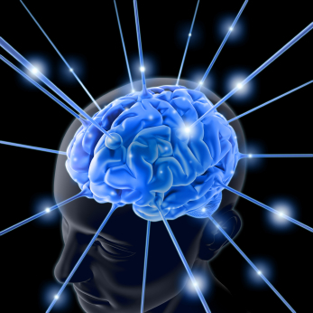 Drawing of a blue brain with rays of blue light shooting out