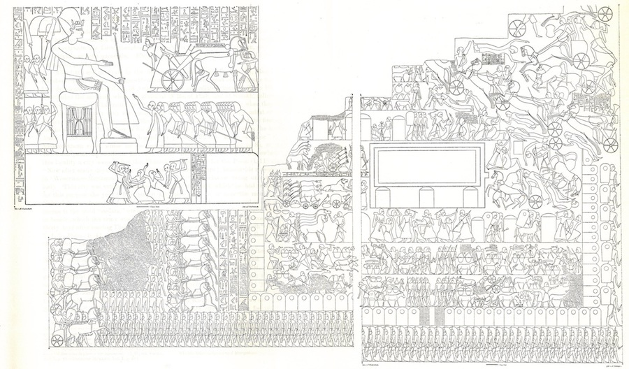 Line drawing of the Egyptian Battle at Qadesh