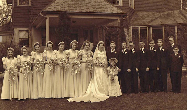 Billy Graham in Thoenne's grandparents' wedding party, 1942